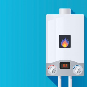 combi gas boiler a type of central heating system with a flame burning on a blue background